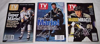 lot of 3 vintage TV Guides Pittsburgh Penguins hockey player Mario Lemieux