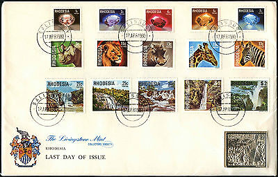 Rhodesia 1980 Definitives + $2 Livingstone Mint Silver Ingot Stamp #C42128