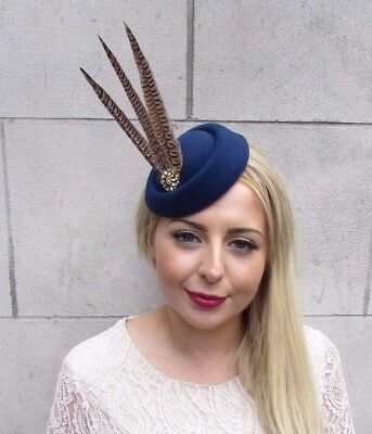 Navy Blue Gold Brown Pheasant Feather Pillbox Hat Fascinator Vtg Races Clip 3914
