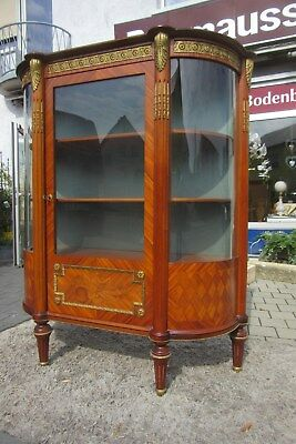 Vitrine Empire Stil Mahagoni um 1970 mit viel Messing