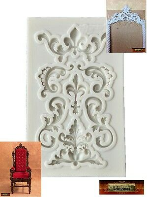 M01083 MOREZMORE Scroll Panel Silicone Mold for Doll Furniture Carved Wood A60