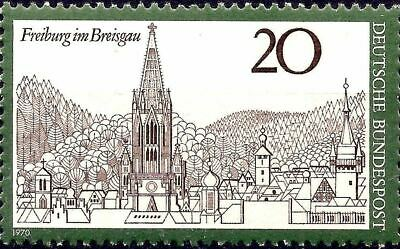 Germany 1970 Freiburg - Church Cathedral Buildings Landscapes City views 1v MNH