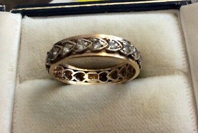 Beautiful Ladies Stamped Vintage 9 Carat White & Yellow Gold White Stone Band