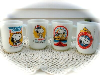 Snoopy for President 1-4 mugs.1980 Collector Series. Fire King glass - Plus More