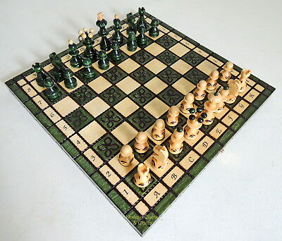 BRAND NEW HAND CRAFTED GREEN WOODEN CHESS SET 34x34cm