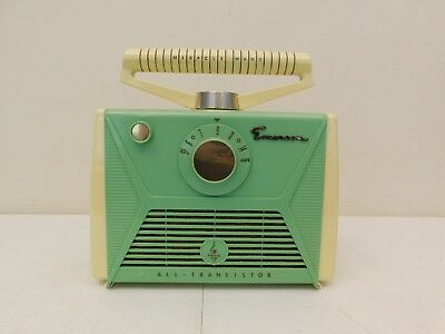 VINTAGE 1950s EMERSON RARE COLOR OLD MID ATOMIC RETRO ANTIQUE TRANSISTOR RADIO