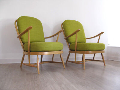 1970s SOLID BEECH ERCOL WINDSOR ARMCHAIRS LOUNGE CHAIRS retro heals 60s 70s