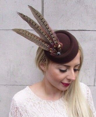 Brown Pheasant Statement Feather Pillbox Hat Hair Fascinator Races Clip Vtg 3920