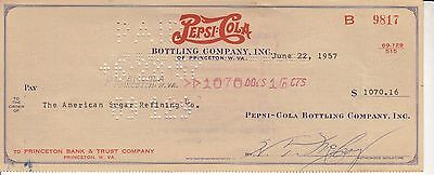 Pepsi:cola Bottling  Co., Princeton, W.v.  Cancelled Check  Dated 1957