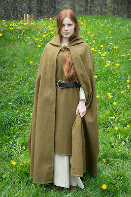 Medieval Hooded Cape Wool - Autumn Green