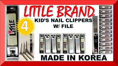 4 LITTLE Deluxe Nail Clippers INFANT, TODLER, KID'S, BABY, CHILD (MADE IN KOREA)