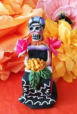 Authentic Mexican Folk Art Day of the Dead Frida Kahlo on Chair Figure
