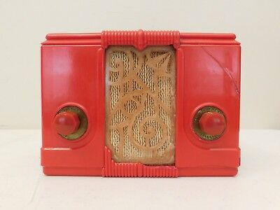 Vintage 1938 Kadette Jewel Art Deco Depression Era Old Red Bakelite Tube Radio