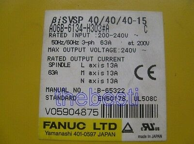 One Used FANUC Servo Drive A06B-6134-H303#A In Good Condition