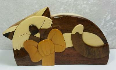 Wood Cat Figurine Trinket Box Puzzle Handcrafted Carver Dan's Earthy Colors