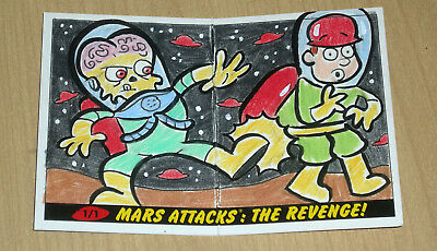 2017 Topps MARS ATTACKS Revenge 1/1 rare PANORAMIC sketch card Jamie Cosley