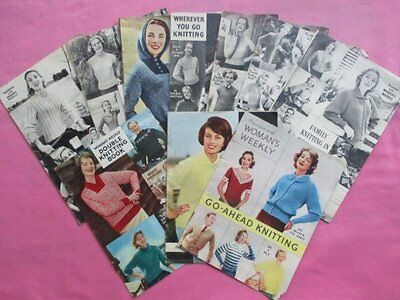 Collection 10 Vintage 1950s Woman's Weekly Knitting Pattern Booklets Fashion