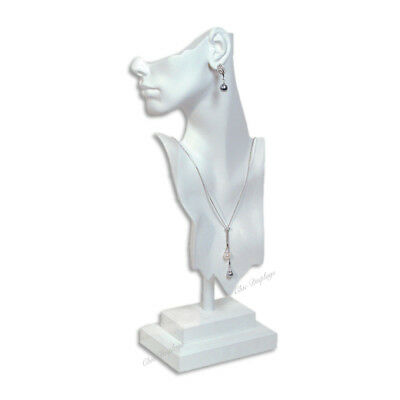 """19 1/2"""" tall DAZZLING WHITE MANNEQUIN EARRING NECKLACE DISPLAY BUST DISPLAY"""