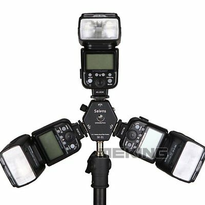 Triple 3 Head Hot Shoe Mount 3-in-1 Adapter Speedlite Flash Light Holder Bracket