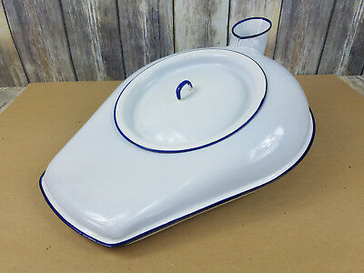 White Porcelain Enamel Bed Pan Urinal Blue w/ Lid Cesco Chamber Pot Columbian