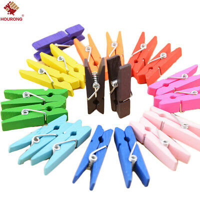 50Pcs Colorful Wood Clothespins Paper Clamp Clips Folder Laundry Clothes Pins