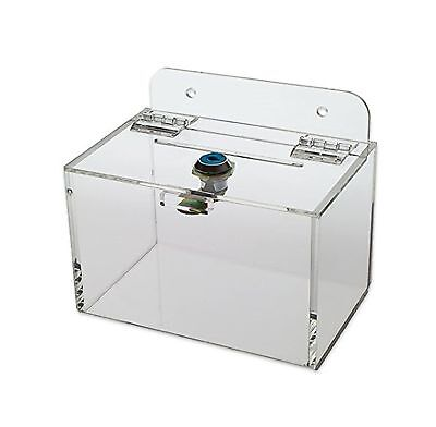 Source One 6 Inch Premium Wall Mount Donation Box - Clear With Cam Lock