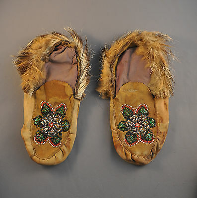 Old Beaded Leather Indian Mocassins - Eskimo Inuit