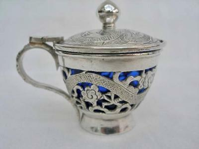 Antique Chinese Silver Dragon Decorated Mustard Pot.
