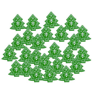 100pcs Christmas tree Shape Wooden Buttons For Sewing Scrapbook Crafting B9S5