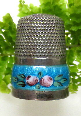 Lovely Antique Aqua Guilloche Enamel 835 Sterling Thimble With Pink Roses