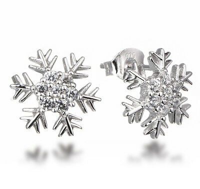 .925 Sterling Silver Cz Stone Cubic Zirconia Snowflake Earrings Studs SSE5133