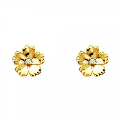 ab700d76f 14k Solid Yellow Gold Rose Flower Diamond Stud Earrings Women/Children Push  Back