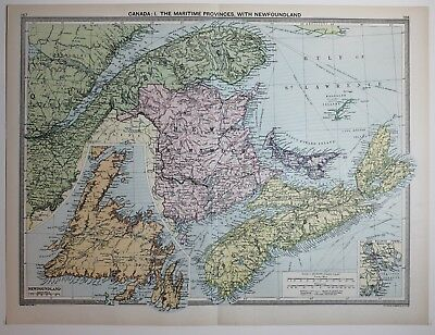 1920 Large Map Canada Maritime Provinces Newfoundland Nova Scotia New Brunswick