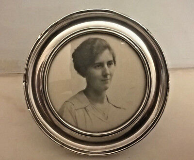 Antique Solid Silver Round Picture Frame By T.h Hazlewood-1918