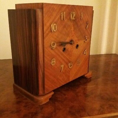 1935 Art deco walnut /macassa wood mantle clock
