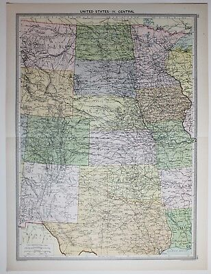 1920 Large Map United States Central Kansascolorado Nebraska Montana Dakota