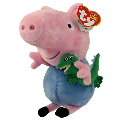 "TY Beanie Baby 6"" GEORGE Peppa Pig Plush Animal Stuffed Toy MWMT's w/ Heart Tags"