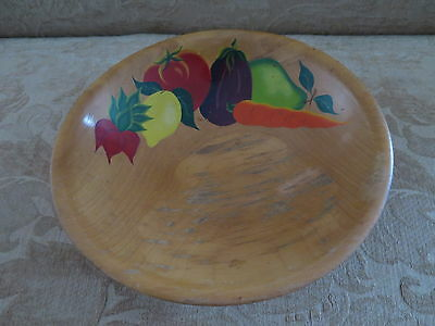 """Vintage Rio Grande Hand Painted Fruit Woodenware Ball Footed 10"""" Wood Bowl"""