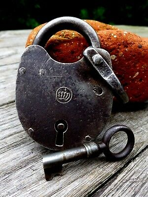 Antique  Padlock with one key working order beautiful padlock crown logo collect