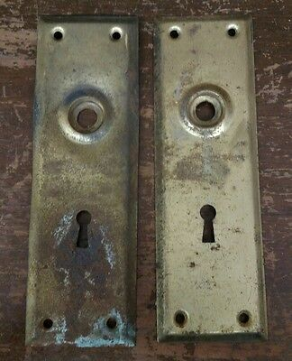 Pair Of Vintage Door Knob Back Plates Skeleton Keyhole Brass Tone Finish