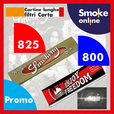 825 SMOKING ORO KING SIZE SLIM  LUNGHE GOLD  CARTINE e 800 FILTRI CARTA ENJOY