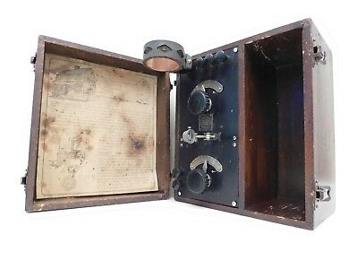 VINTAGE 20s ANTIQUE DEFOREST OLD WOOD BOX CRYSTAL RADIO WITH OLD VERTICAL COIL