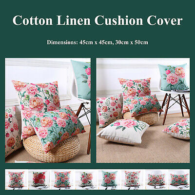 Peony Blossom Floral Cotton Linen Cushion Covers Home Decor Throw Pillow Cases