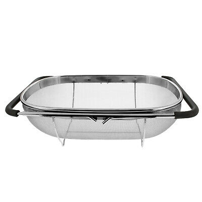 Over The Sink Stainless Steel Oval Fine Mesh Colander Strainer Expandable Handle