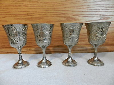 """Set of 4 ZY India World Silver Over Brass Engraved Wine Goblet 61/2"""" Tall"""