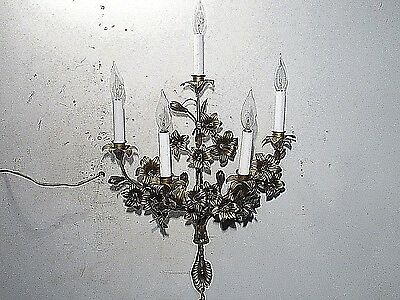 Antique Vintage Wall Sconce Italy Tole Floral 5 Light  Wall Lamp 100% working