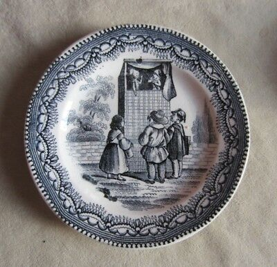 Transferware Plate from Child's Dinner Set by Petrus Regout - Puppet Show