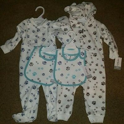 Lot of 2 NWT Carters 9 Months Boy's Outfits Dog Paws Matching Bibs Clothes TWINS