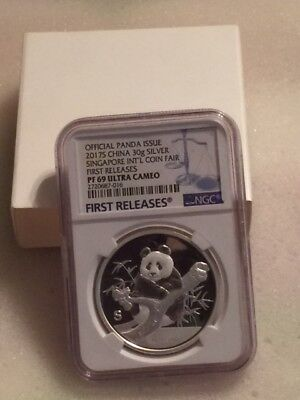 Official Panda Issue-2017-S-Singapore Int'l Coin Fair-First Releases Proof-69