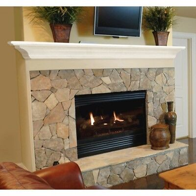 Wood Fireplace Mantel Rustic 5 Foot White Floating Home Living Room Beam Shelf
